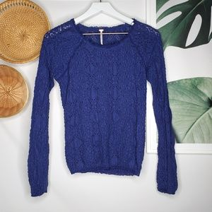 Free People Blue Textured Stretchy Top Long Sleeve